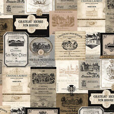 International Wine Labels in Gold & Black Wallpaper KK26753