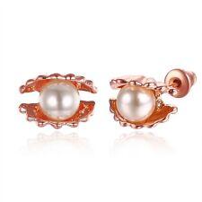 Women's Showy Shell Pearl Earrings 18k Rose Gold Filled 11mm Fashion Jewelry