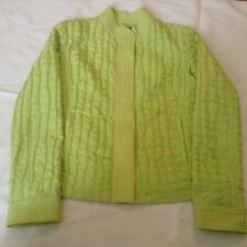 Samuel Dong Womens Textured Jacket Size S Small Lime Green Chartreuse Snap Front