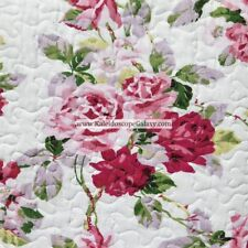 LAURA ASHLEY 3pc KING QUILT ~ PINK PURPLE ROSES ~ COTTAGE SHABBY CHIC FLORAL