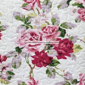 LAURA ASHLEY COTTAGE SHABBY CHIC 3pc KING QUILT PINK PURPLE ROSES FLORAL