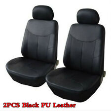 2Pcs Car Breathable PU Leather Universal Car Front Row Seat Covers Cushion Black