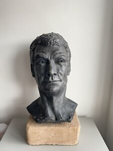 Vintage Mid 20th Century Clay Sculpture Bust Of A Man Signed