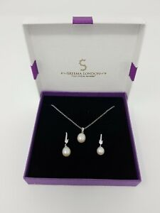 Mother's Day Sterling Silver Pendant Earrings Gift Set Pearl Drop Necklace Wife