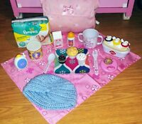 HUGE Vintage Fisher Price Little Mommy Food Baby Doll Diaper Bag Diary Queen Lot