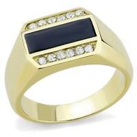 18K GOLD EP 2.0CT DIAMOND SIMULATED MENS ONYX INLAY DRESS RING sz 9-13 u choose