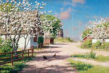 Landscape spring in the village Tile Mural Kitchen Wall Backsplash Ceramic 18x12