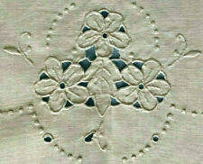 """set of 3 antique linen runners w cutwork+embr: 40x15, 32x15, 16x12"""" v good cond."""