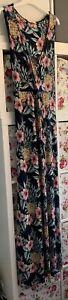 FAT FACE navy blue floral Tropical Print full length maxi dress Size 18