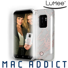 LuMee Duo selfie case with front and back lights for Galaxy S9+, Rose Metallic