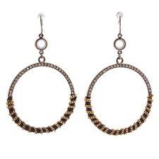 "2.5"" Gold Chain Wrapped Rhinestone Hematite Hoop Nickel Free Dangle Earrings"