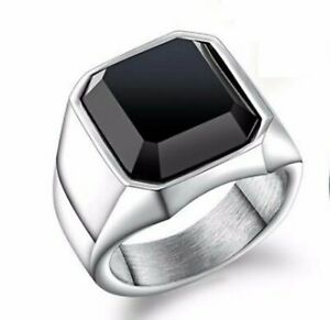 Black Agate Stone Wide 316L Stainless Steel Silver Ring For Men/ Women Size 8-12