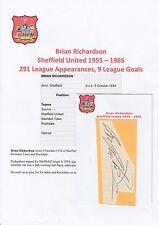 BRIAN RICHARDSON SHEFFIELD UNITED 1955-1965 ORIGINAL HAND SIGNED CUTTING/CARD