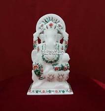 "10"" Ganesh Statue Handmade Poly Malachite Marble Home Decor Religious Gift H3784"