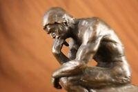 Thinker Bronze Sculpture statue Signed Auguste Rodin Sculpture Library Decor Art