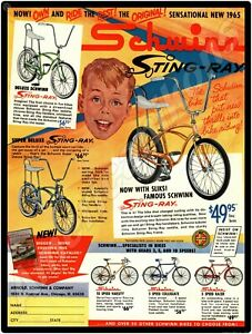 1965 Schwinn Bicycles New Metal Sign: Schwinn Sting-Ray - Chicago, Illinois