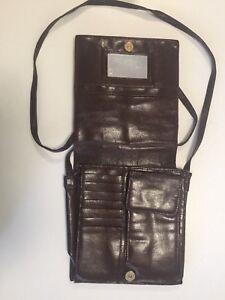 Vintage Brown Cowhide Leather Shoulder Bag - Fits Phone Cards etc Handbag
