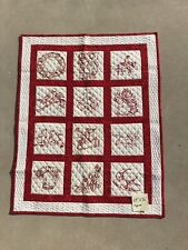 New listing Vintage Red And White Baby Quilt , Table Topper, Wall Quilt