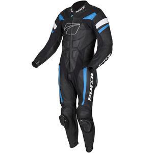 Spada Curve Evo 1 One Piece Leather Motorcycle Racing Suit - Black/ blue