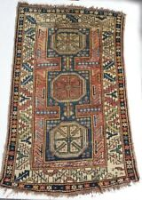 Antique 19th century Caucasian Rug, geometric, wool pile, blues cream green