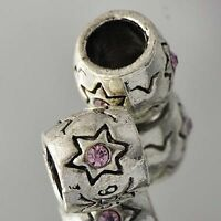 5pcs Silver Pink crystal Cylinder Beads star Charm Beads Fit European Bracelet