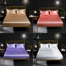Satin Silk Fitted Sheet Deep Pocket Breathable Smooth Bedding Sheet Cover