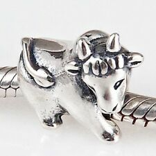 BULL COW Charm Bead 925 Sterling Silver