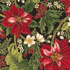 HOLIDAY FLOURISH RED POINSETTIAS HOLLY CHRISTMAS FABRIC METALLIC