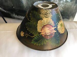 Vintage Lamp Shade Toleware Metal Hand Painted