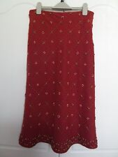 Monsoon rust 100% linen skirt with wooden beads design lovely condition size 10