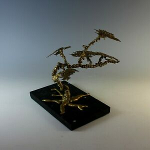 Vintage Abstract Gilded Bronze Sculpture of a Tree Brutalist