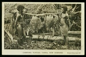 Vintage Postcard ~Carrying Turtles, Tanna, New Hebrides