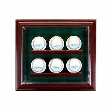 6 Baseball Cabinet Style Display Case Six Ball Hinged Door Glass Suede MLB