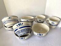 Lot of 9/ 7 Deep Bowls - Tienshan Stoneware - Country Crock Mixed Set w/ 2 Mugs