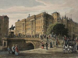 Stahlstich Berlin Kolb Rohbock 1883 Stadt Schloss Kurfürstenbrücke Spree Kutsche