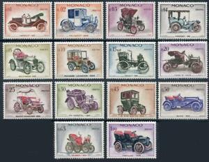 Monaco: 1961 Classic Cars (485-498) 14-Stamp Set MNH