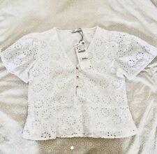 Zara TRF White Broderie Anglaise Top M 10 Blouse Peplum Frill Buttons Crop