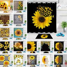 "71"" Sunflower Floral Shower Curtain Sets Black White Stripes for Bathroom Decor"