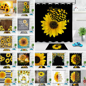 "71"" Sunflower Floral Shower Curtain Sets Black White Stripes for Bathroom Decor"