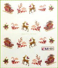 Nail Sticker - Nagel Tattoo - water transfer Weihnachten XMas Glitter Rot BJC031