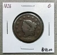 1826 MATRON HEAD or CORONET HEAD LARGE CENT ~ GOOD CONDITION! C753