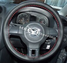 FITS VW POLO MK5 6R 09-15 BLACK ITALIAN LEATHER STEERING WHEEL COVER RED STITCH