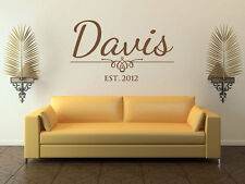 Personalized Family Name Wall Decal Monogram #25 Living and Family Room Vinyl