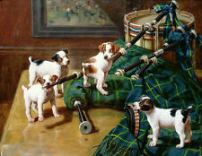 Charming huge Oil painting troubles from Four puppies Naughty dogs in room RARE
