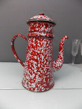 BELLE CAFETIERE EMAILLEE ANCIENNE ROUGE MOUCHETEE