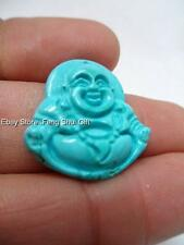 Natural Turquoise Bead Chinese Carved Stone Lucky Happy Money Buddha Pendant #WE