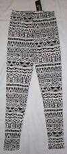 NEW Womens SHOSHO Black & White Aztec Leggings - One Size fits S M L