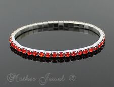 STERLING SILVER PLATED RED CRYSTAL DIAMONTE STRETCH GIRLS WOMEN BRACELET BANGLE