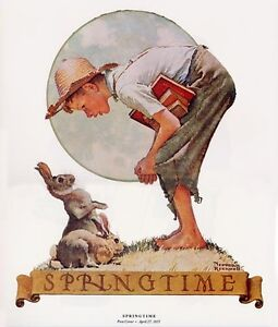 Norman Rockwell Boy And Rabbits Print SPRINGTIME 1935