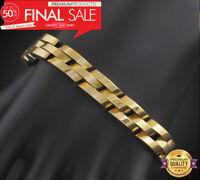 18k Goldkette Armkette dicke Panzerkette Armband Männer Herren 21cm vergoldet